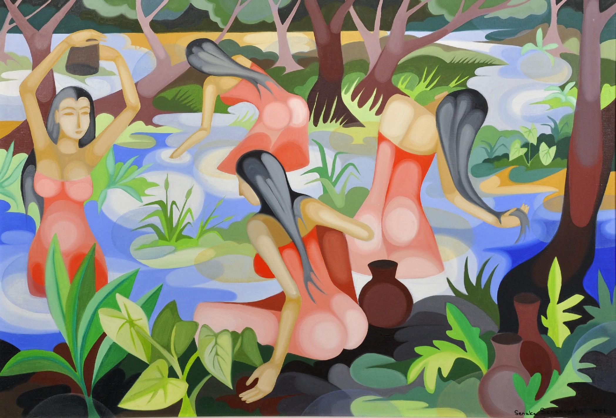 Lot 385 - Senaka Senanayake (1951- ) Sri Lankan. Sri Lankan Beauties Bathing in a Pool, Oil on Canvas,