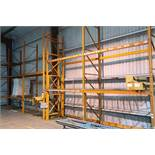 """SECT. 42"""" X 102"""" X APPROX. 16' H PALLET RACK WITH SKID OF MISC. RACK"""