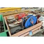 (LOT) CRATE WITH AIR HOSE REEL, STENCIL MAKER, SAW, GRABBER & MISC.