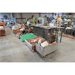 (LOT) (2) ROWS OF MISC. PARTS, APPROX. (20) SKIDS, CRATES, RACKS, CARTS
