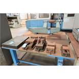 """(LOT) MACHINE ACCESSORIES ON TABLE; 20"""" X 24"""" BENCH CENTER, (4) VISES, GRANITE PLATE"""