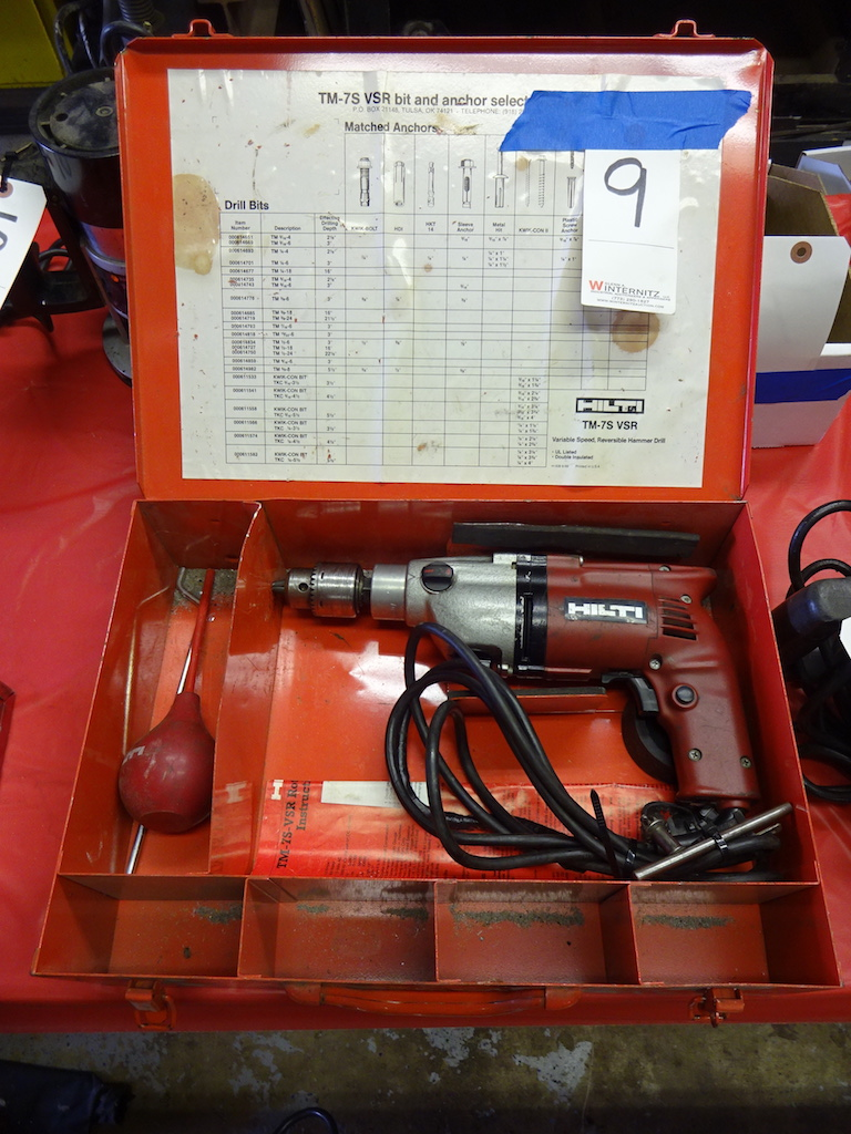 Lot 9 - HILTI MODEL TM-75 VSR VARIABLE SPEED REVERSIBLE HAMMER DRILL