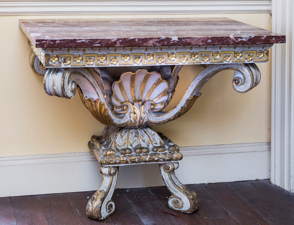 Lot 118 - AN EXTREMELY FINE RARE PAIR OF 18TH CENTURY CARVED, PAINTED AND PARCEL GILT CONSOLE TABLES,
