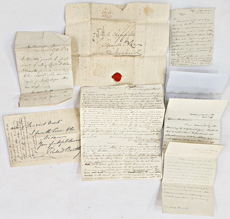 Lot 37 - A letter from Richard Bentley (with a copy of ME's letter July 1834) with Irish seal and stamp,