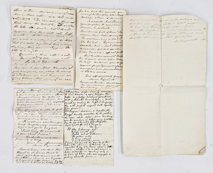Lot 35 - Letters from Maria Edgeworthincluding My Dearest Mary dated October 4th 1834 from Edgeworth's Town,