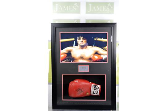 Slyvester Stallone signed Cleto reyes boxing glove with a