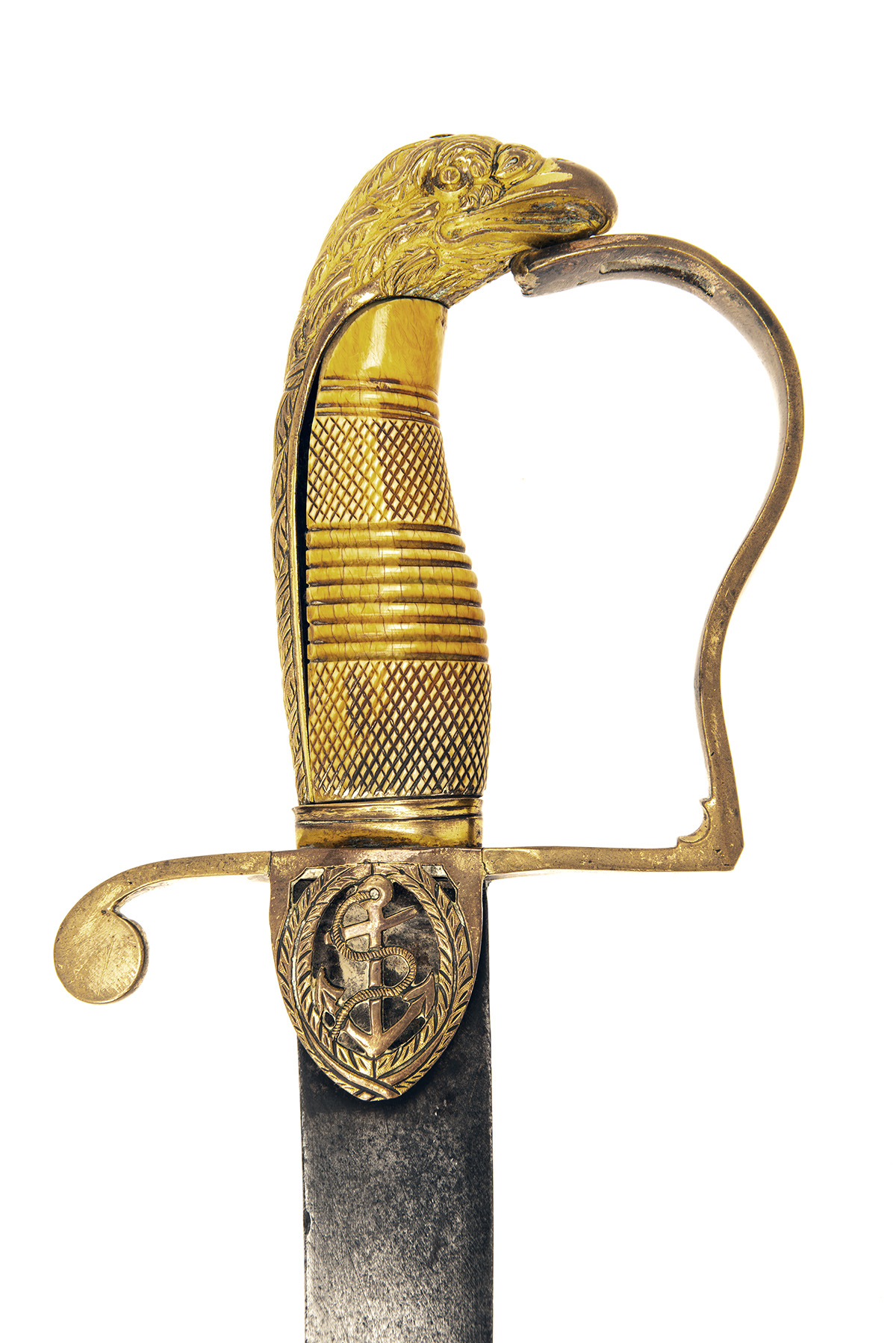 Lot 203 - A GEORGIAN NAVAL OFFICER'S SABRE WITH IVORY HILT, probably English circa 1795, with heavily curved