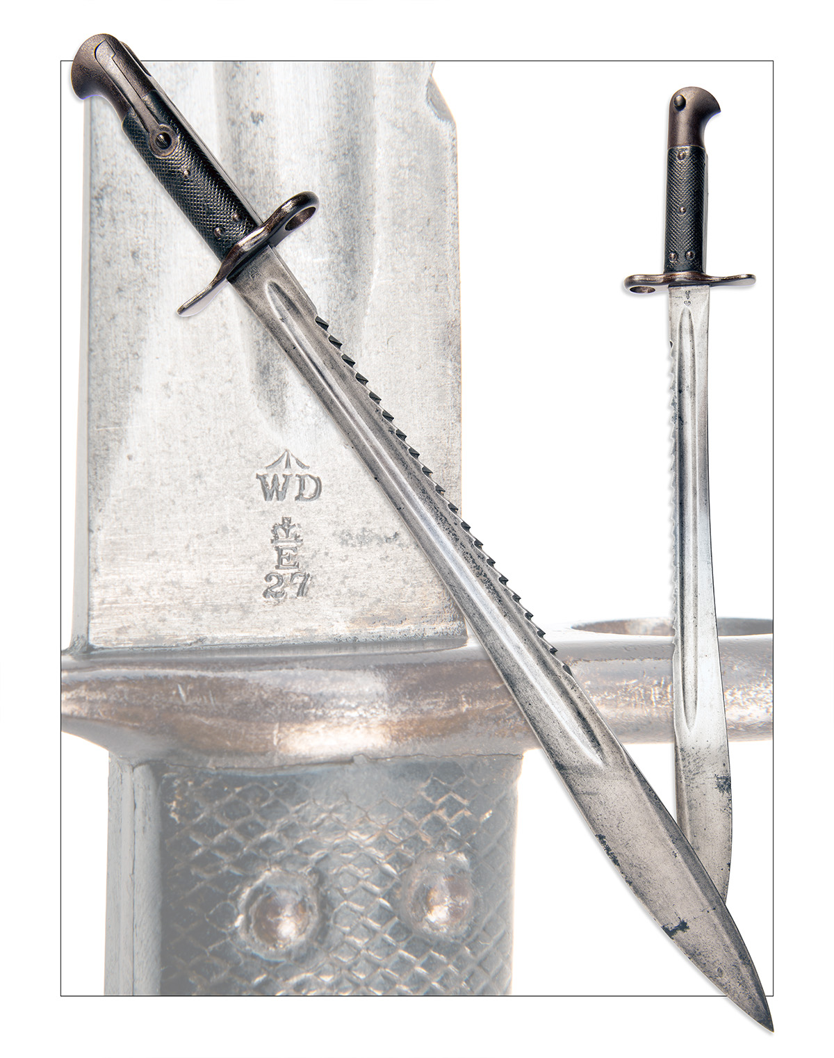 Lot 215 - AN EXCEPTIONALLY RARE BRITISH 'ELCHO' SAW-BACK BAYONET FOR THE MARTINI-HENRY SERVICE RIFLE, circa