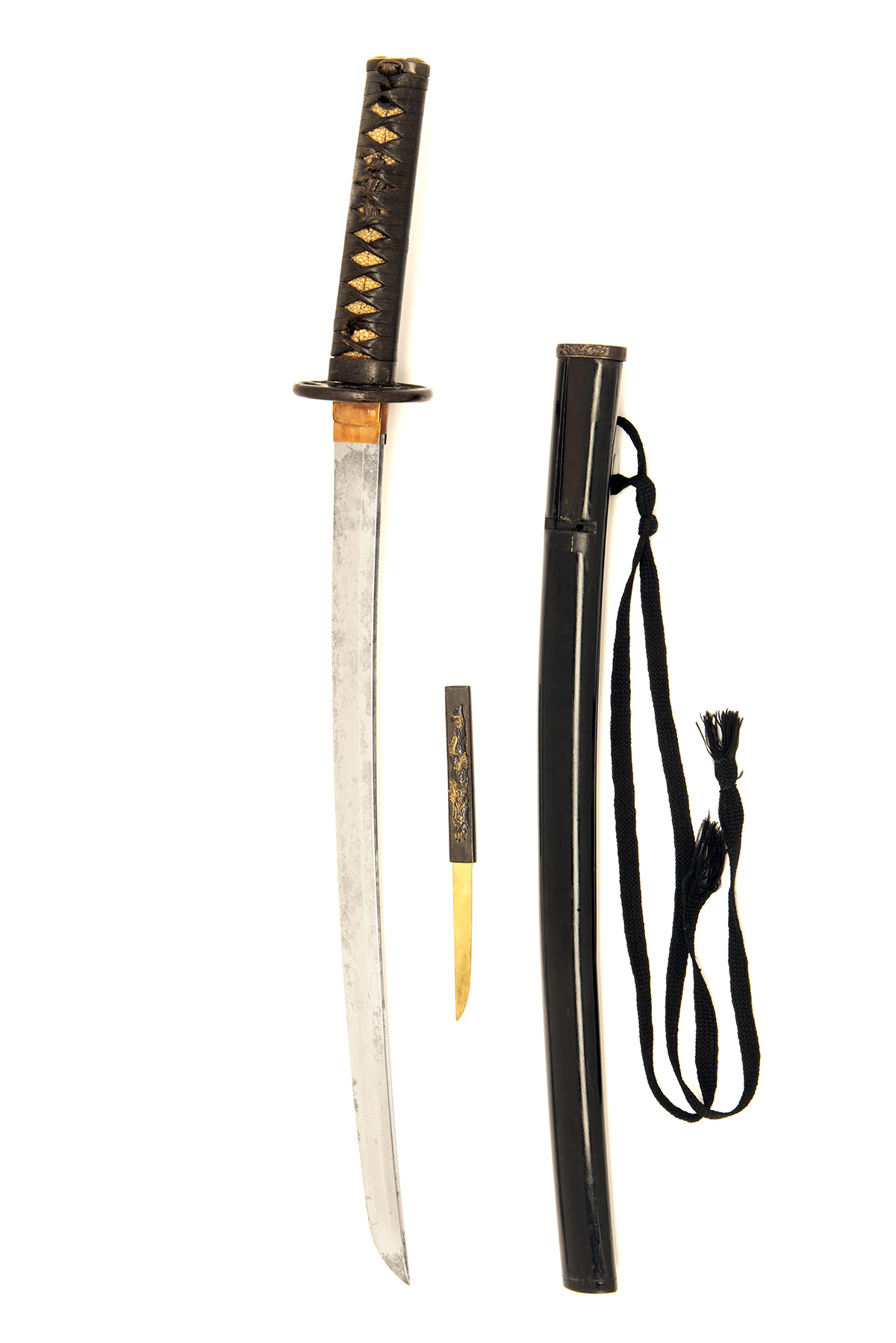 Lot 208 - A JAPANESE WAKIZASHI, probably early 18th century, with 18 1/4in. curved and re-polished blade (some