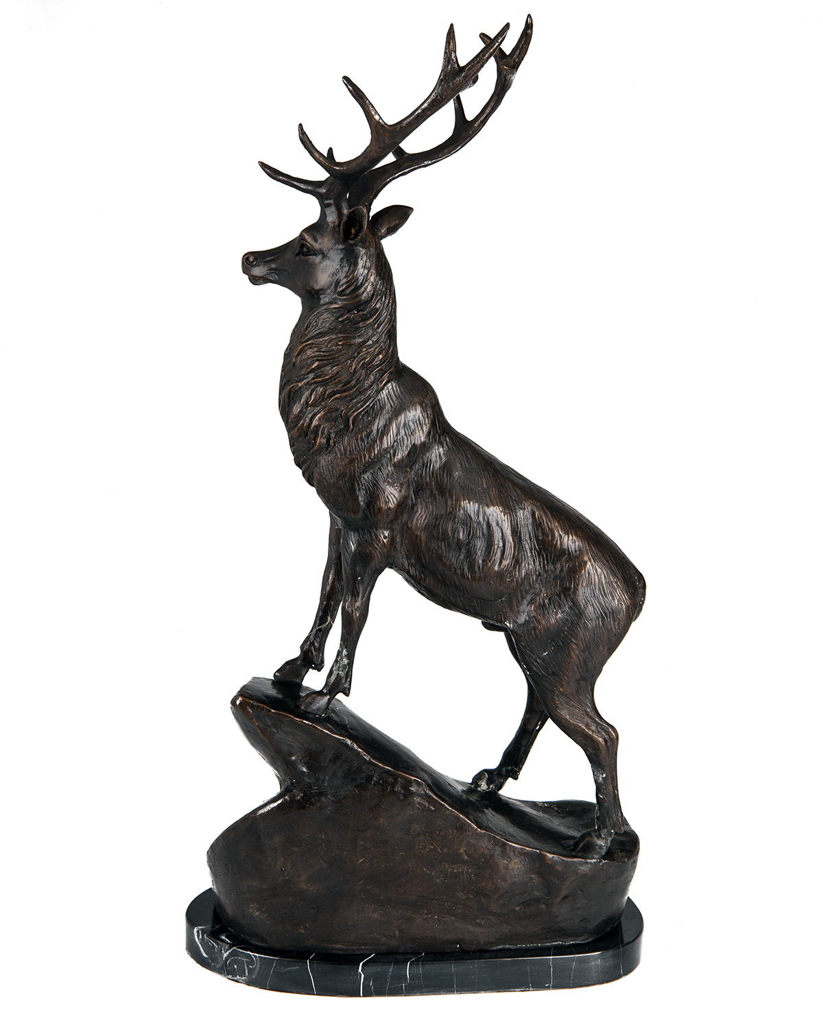 Lot 30 - A PAIR OF BRONZE STAGS SIGNED BY T. MAIGNIERY, each standing on a rocky prominence and mounted on