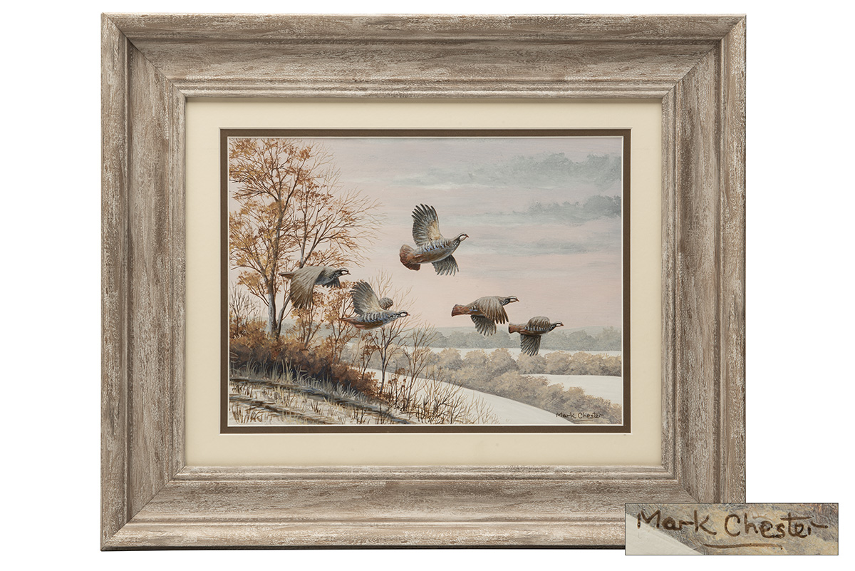 Lot 51 - MARK CHESTER (F.W.A.S.) 'TAKING FLIGHT' RED LEGGED PARTRIDGES, an original painting signed by the