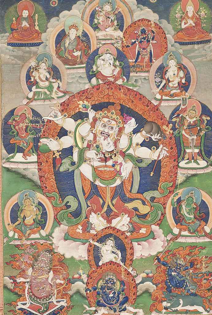 Lot 127 - A THANGKA DEPICTING WHITE MAHAKALA 19TH-20TH CENTURY The eight-armed deity is standing to the
