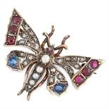 AN ANTIQUE RUBY, SAPPHIRE, PEARL AND DIAMOND BUTTERFLY BROOCH in yellow gold and silver, designed sa