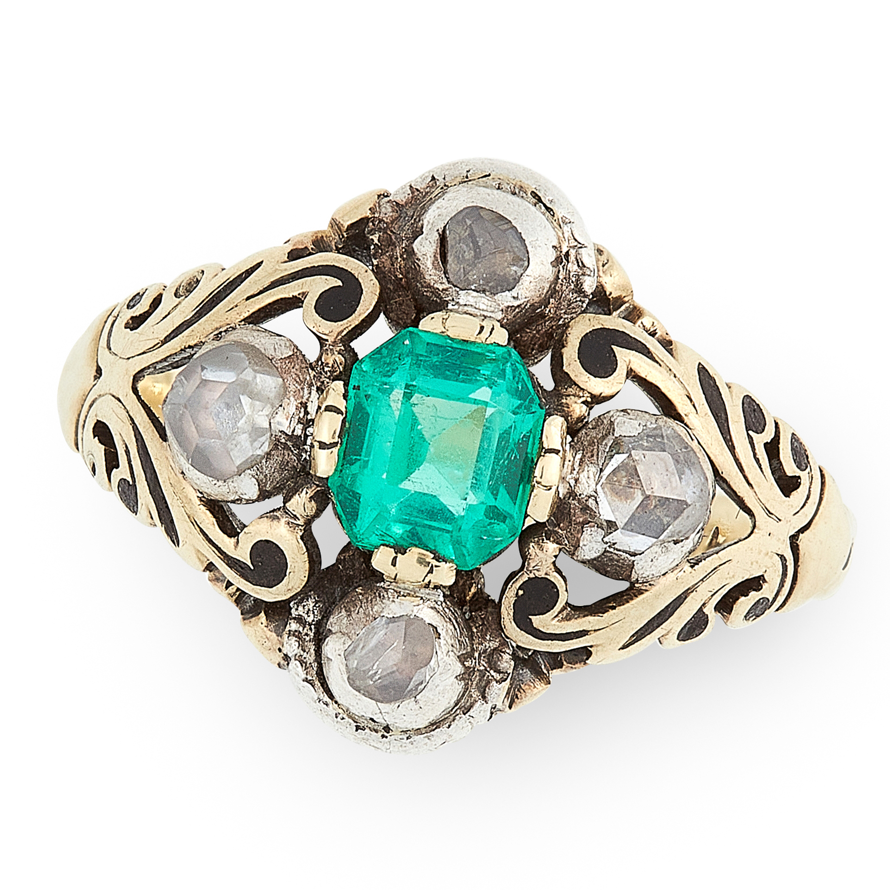 AN ANTIQUE EMERALD AND DIAMOND RING, 19TH CENTURY in yellow gold, set with an emerald cut emerald of