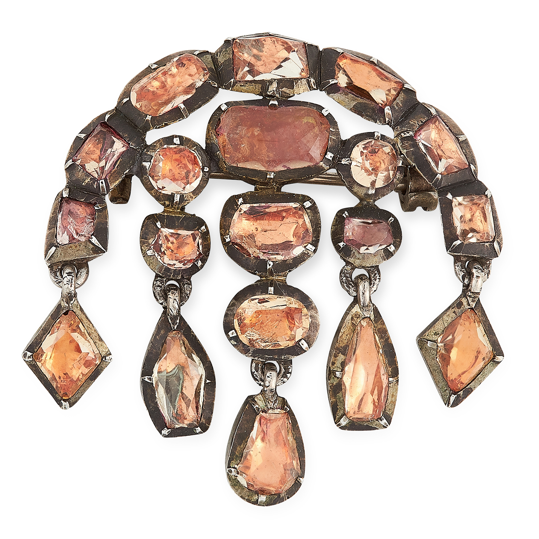 AN ANTIQUE TOPAZ BROOCH, PORTUGUESE CIRCA 1800 in silver, the body close set with variously cut