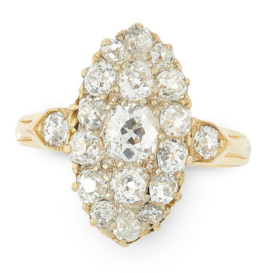 AN ANTIQUE DIAMOND DRESS RING in high carat yellow gold, the nanette face set with a cluster of