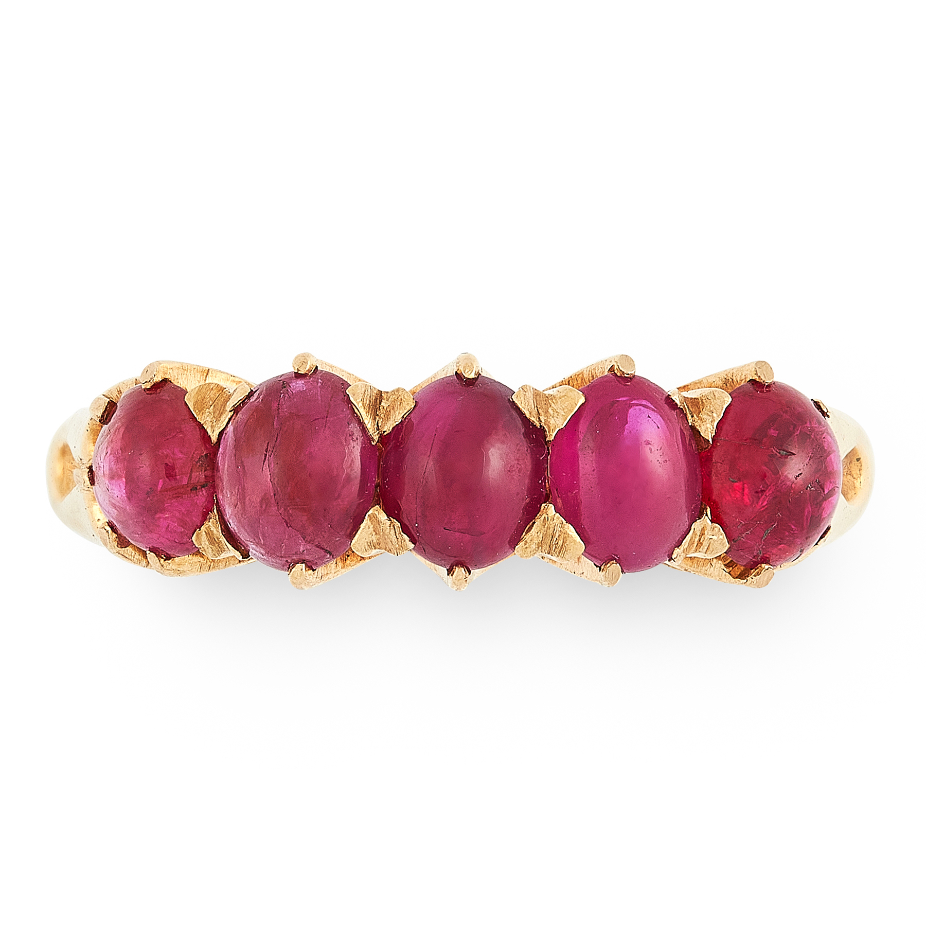 A RUBY DRESS RING in high carat yellow gold, set with a row of five graduated oval cabochon rubies