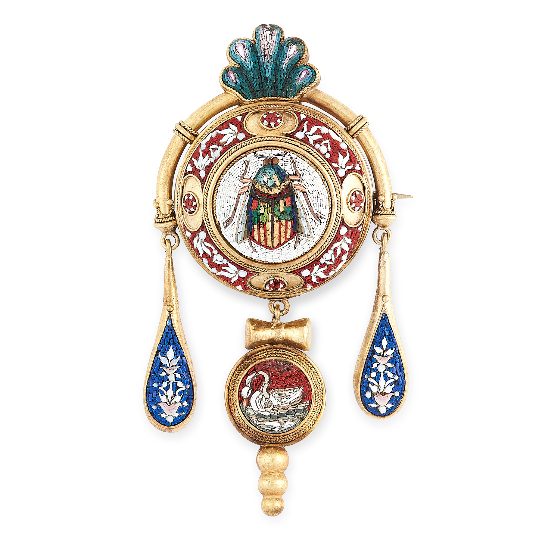 AN ANTIQUE MICROMOSAIC BROOCH, 19TH CENTURY in high carat yellow gold, the circular body with