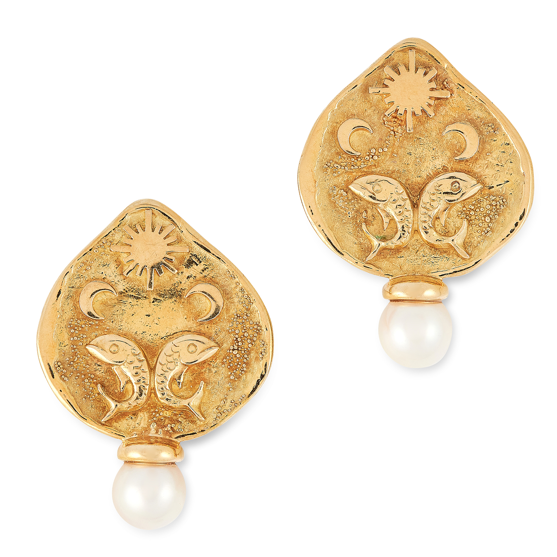 A PAIR OF ZODIAC PEARL CLIP EARRINGS, ELIZABETH GAGE 1994 in 18ct yellow gold, the face of each