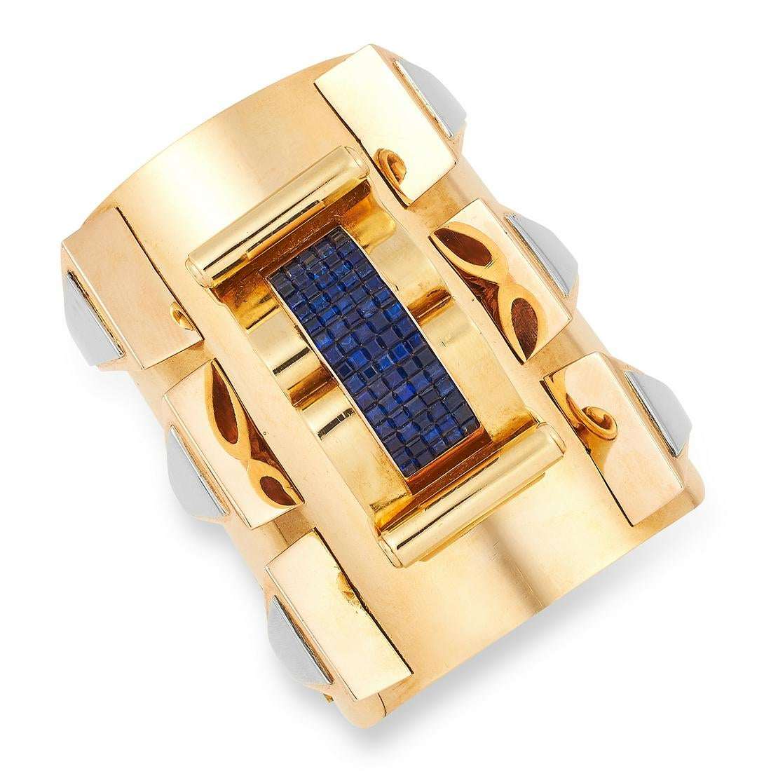 A VINTAGE SAPPHIRE CUFF BANGLE / BRACELET in 18ct yellow gold, the tapering body designed with