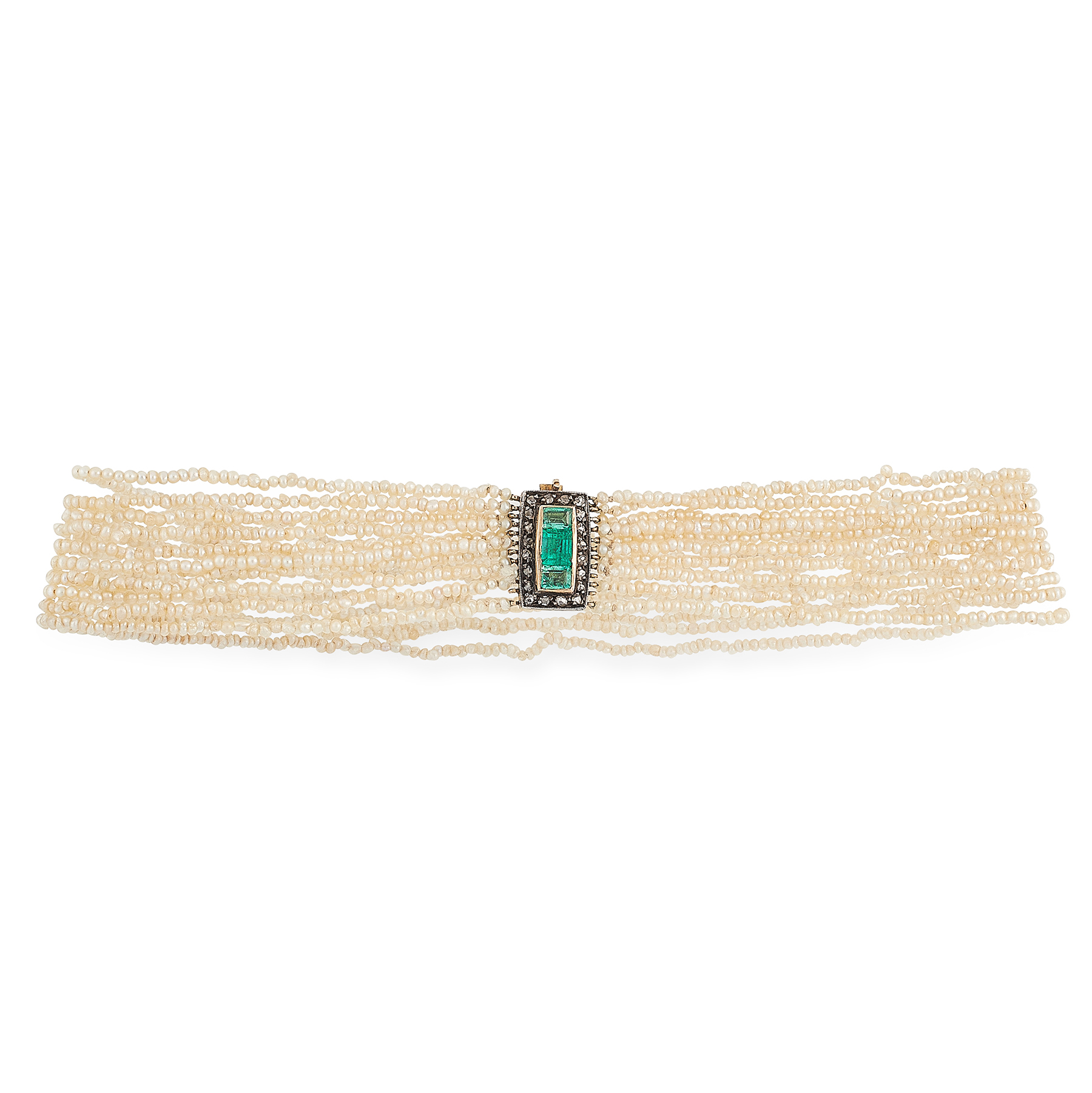 AN ANTIQUE PEARL, EMERALD AND DIAMOND CHOKER NECKLACE in yellow gold and silver, formed of ten