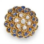 A VINTAGE SAPPHIRE AND DIAMOND RING, KUTCHINSKY 1966 in 18ct yellow gold, designed as a floral