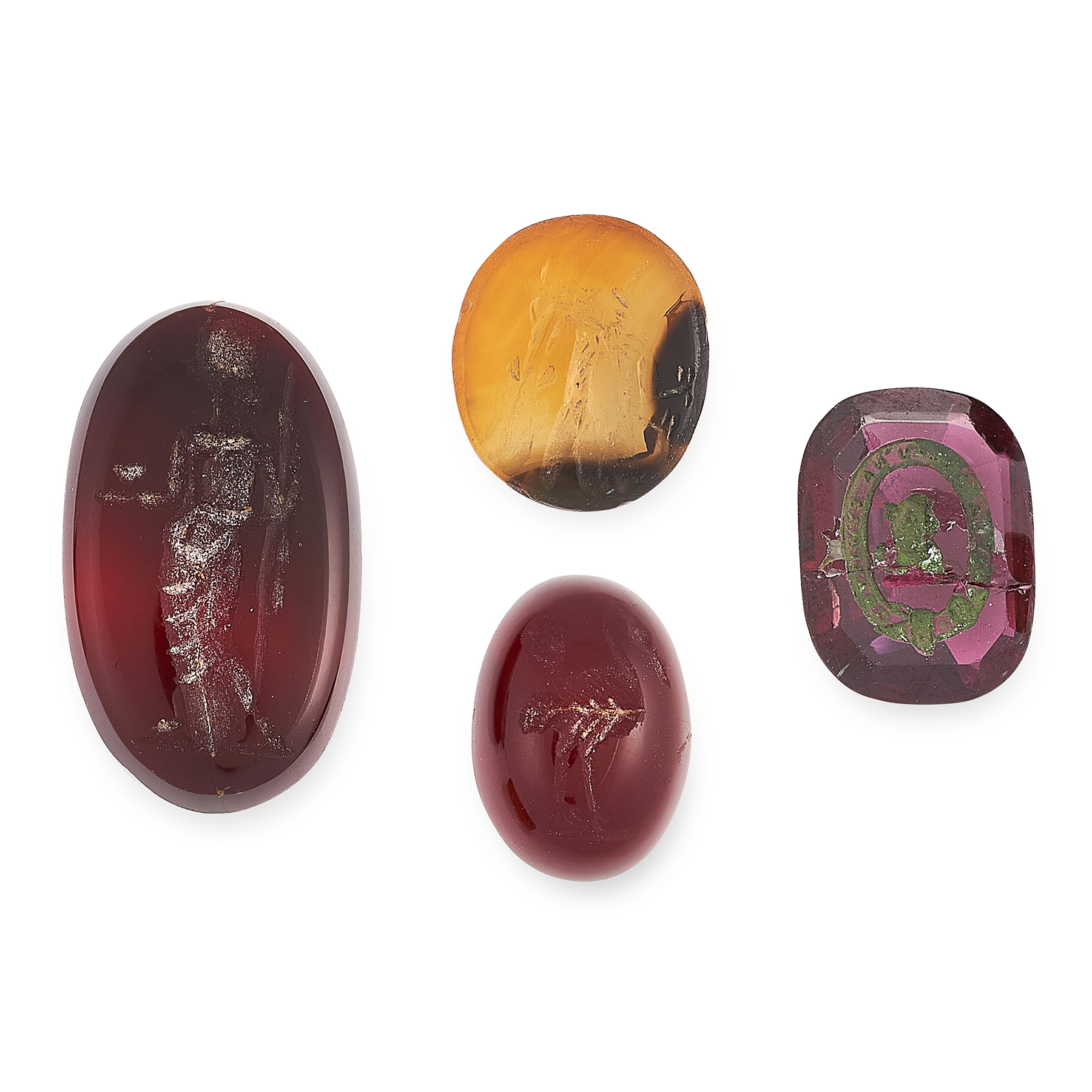 FOUR ANTIQUE HARDSTONE INTAGLIOS of oval form, each carved from hard stone to depict various