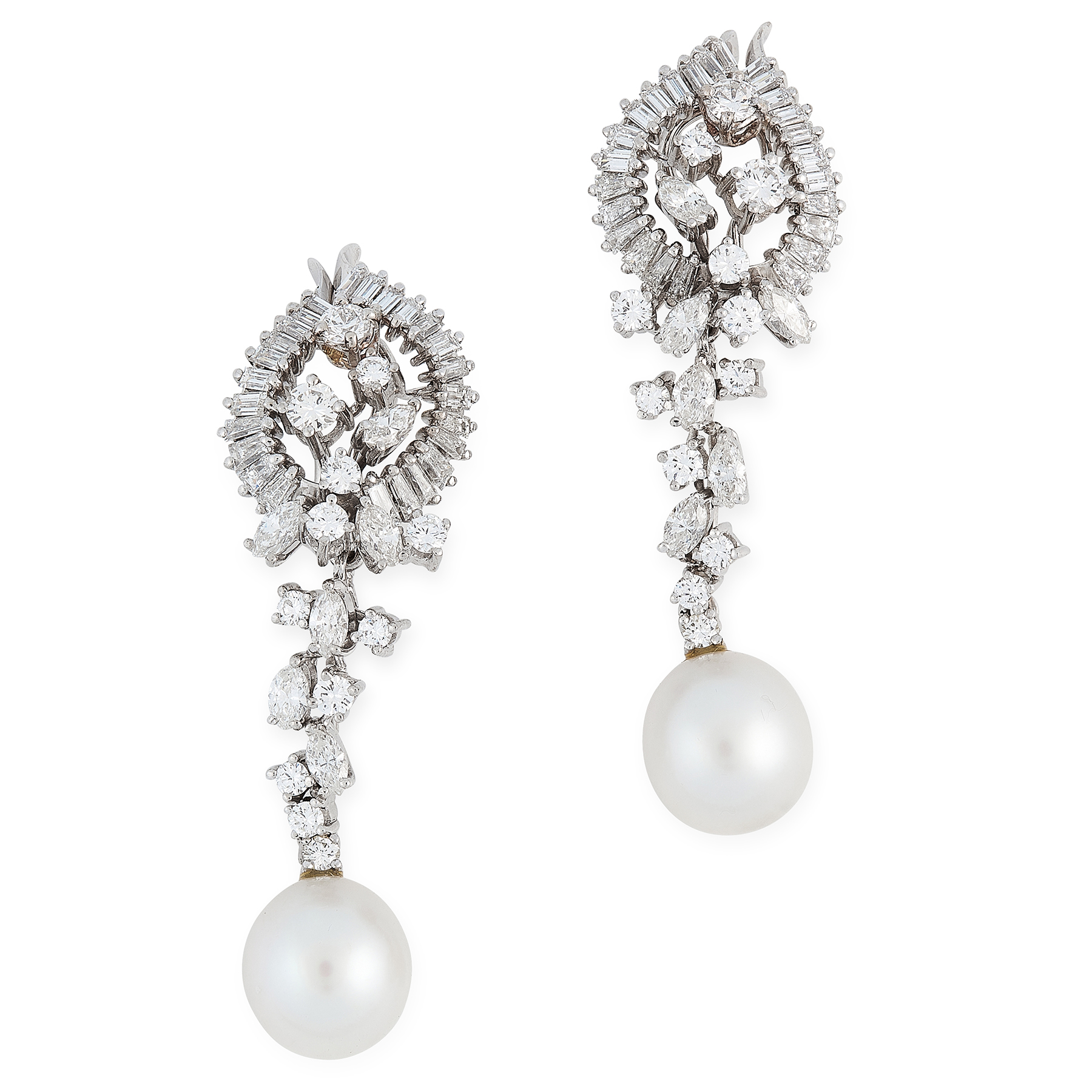 A PAIR OF PEARL AND DIAMOND EARRINGS in 18ct white gold, each designed as a cluster of round,
