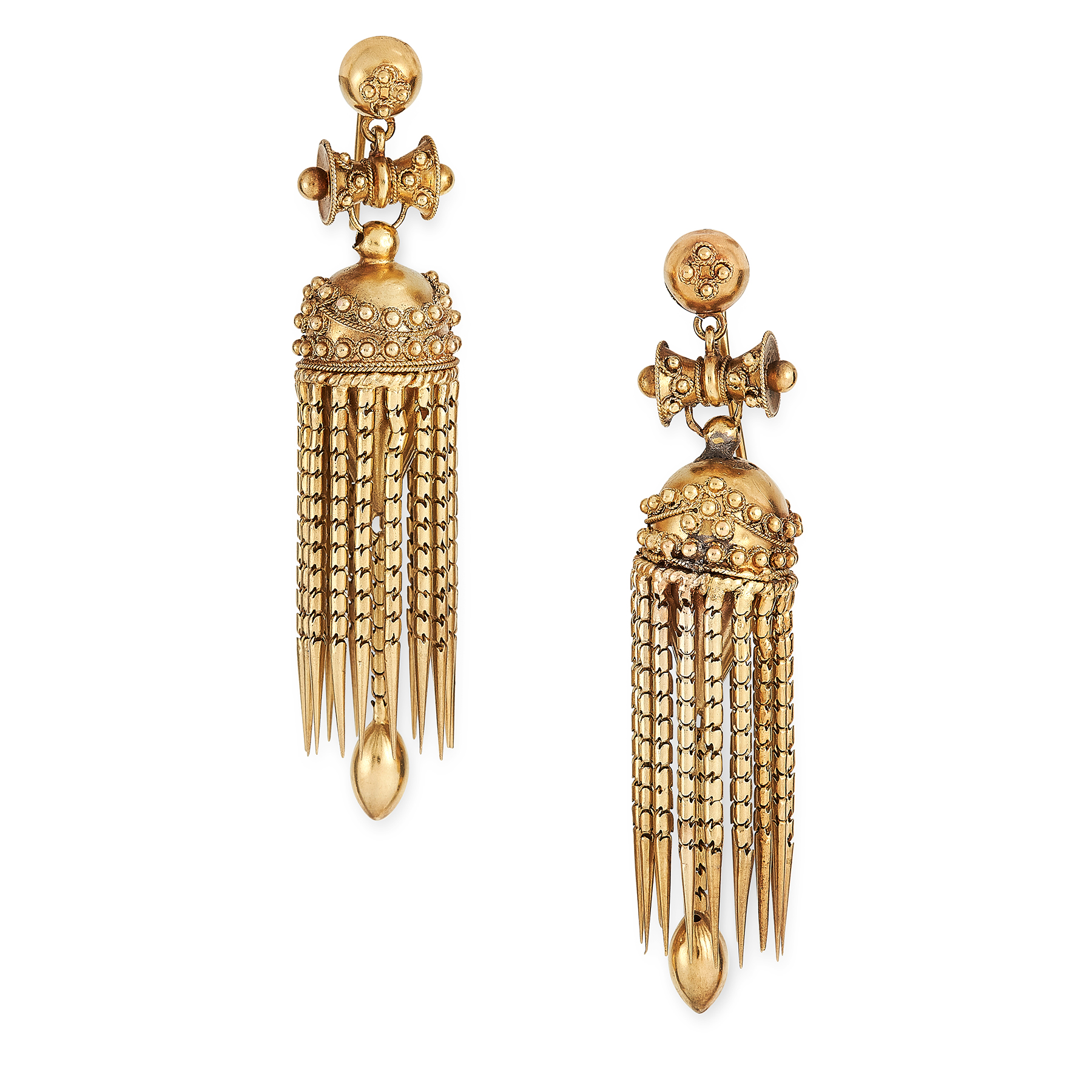 A PAIR OF ANTIQUE GOLD TASSEL EARRINGS, 19TH CENTURY in high carat yellow gold, in the Etruscan