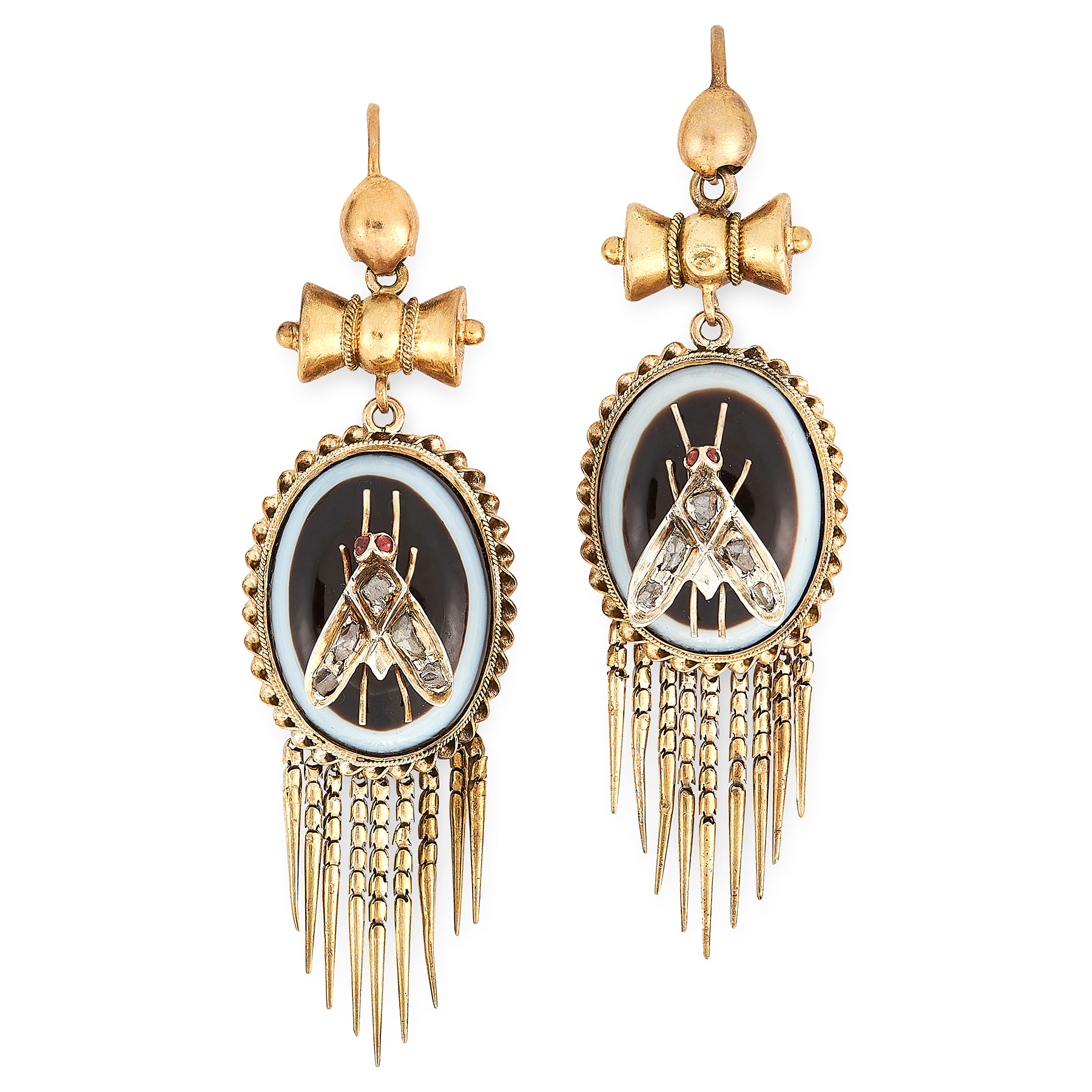 A PAIR OF ANTIQUE BANDED AGATE, DIAMOND AND RUBY FLY EARRINGS, 19TH CENTURY in yellow gold, each set