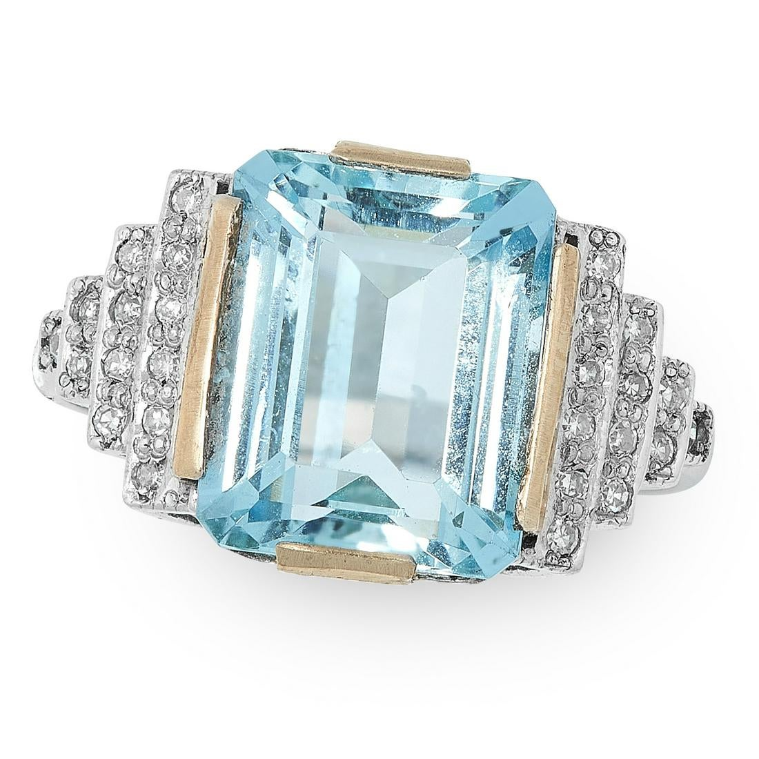 AN AQUAMARINE AND DIAMOND RING set with an emerald cut aquamarine of 4.19 carats between stepped