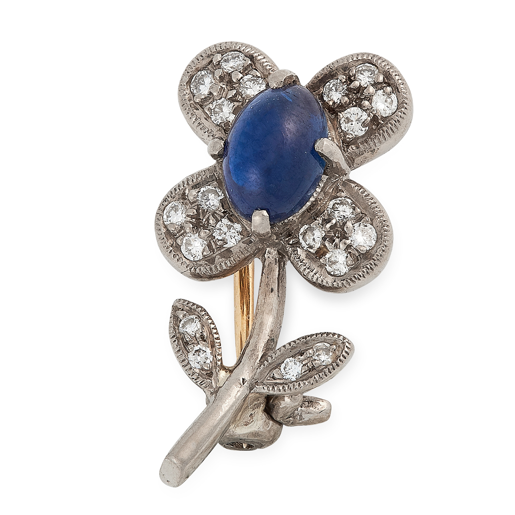 A SAPPHIRE AND DIAMOND FLOWER BROOCH in yellow and white gold, designed as a flower, set with an