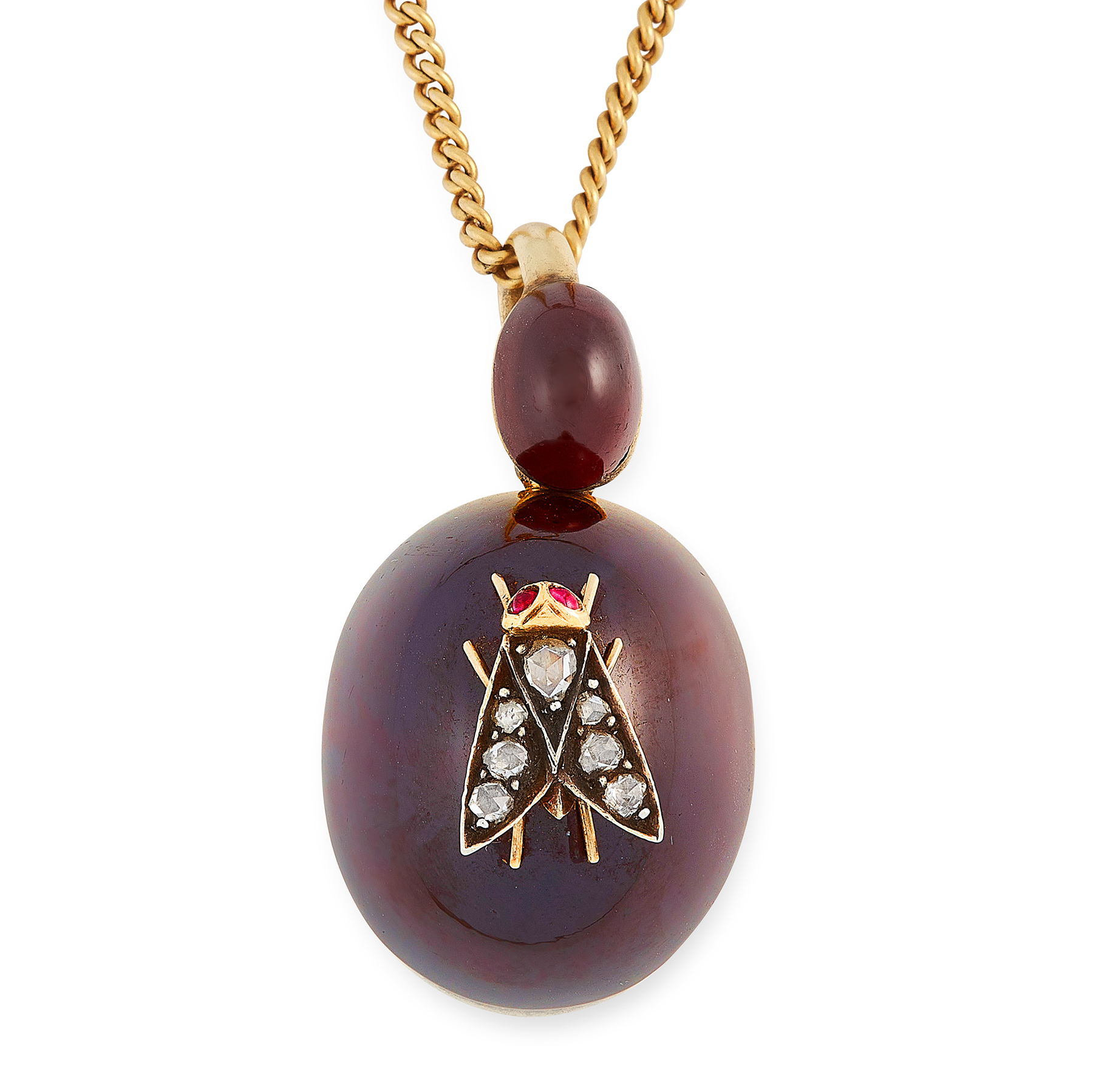 AN ANTIQUE DIAMOND AND GARNET FLY MOURNING LOCKET PENDANT, 19TH CENTURY in yellow gold and silver,