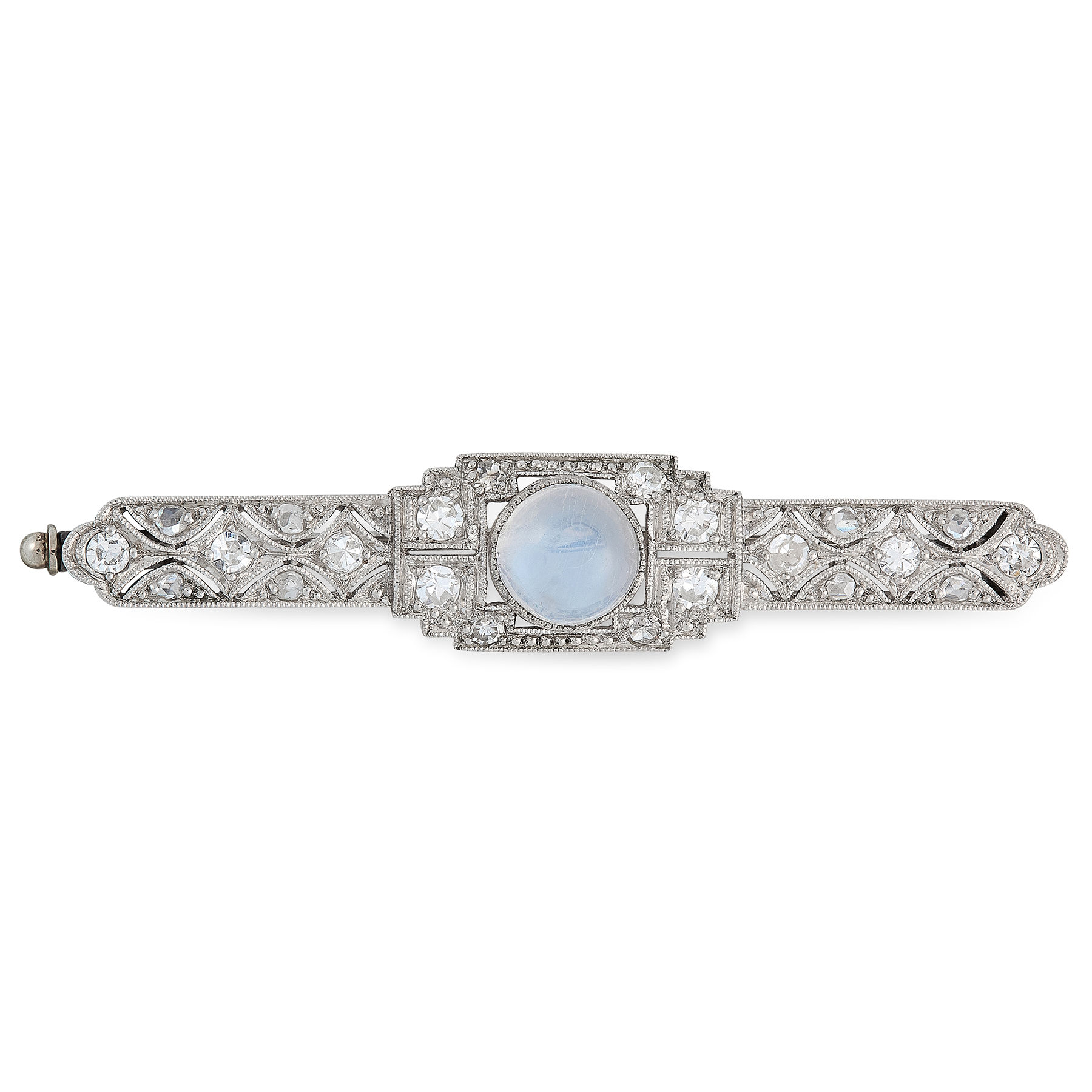 AN ART DECO MOONSTONE AND DIAMOND BROOCH, EARLY 20TH CENTURY set with a round cabochon moonstone