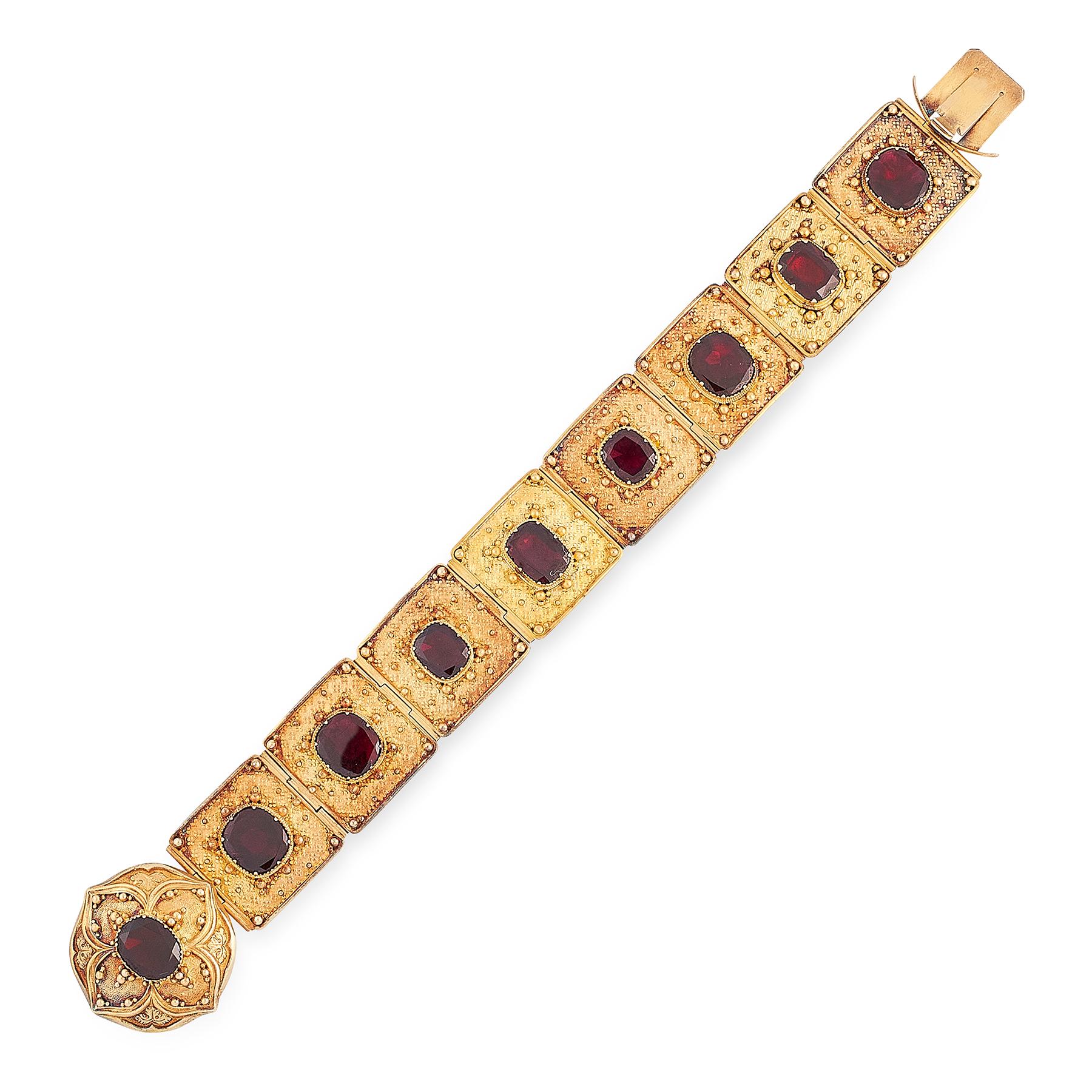 AN ANTIQUE GARNET BRACELET, 19TH CENTURY in high carat yellow gold, formed of eight rectangular