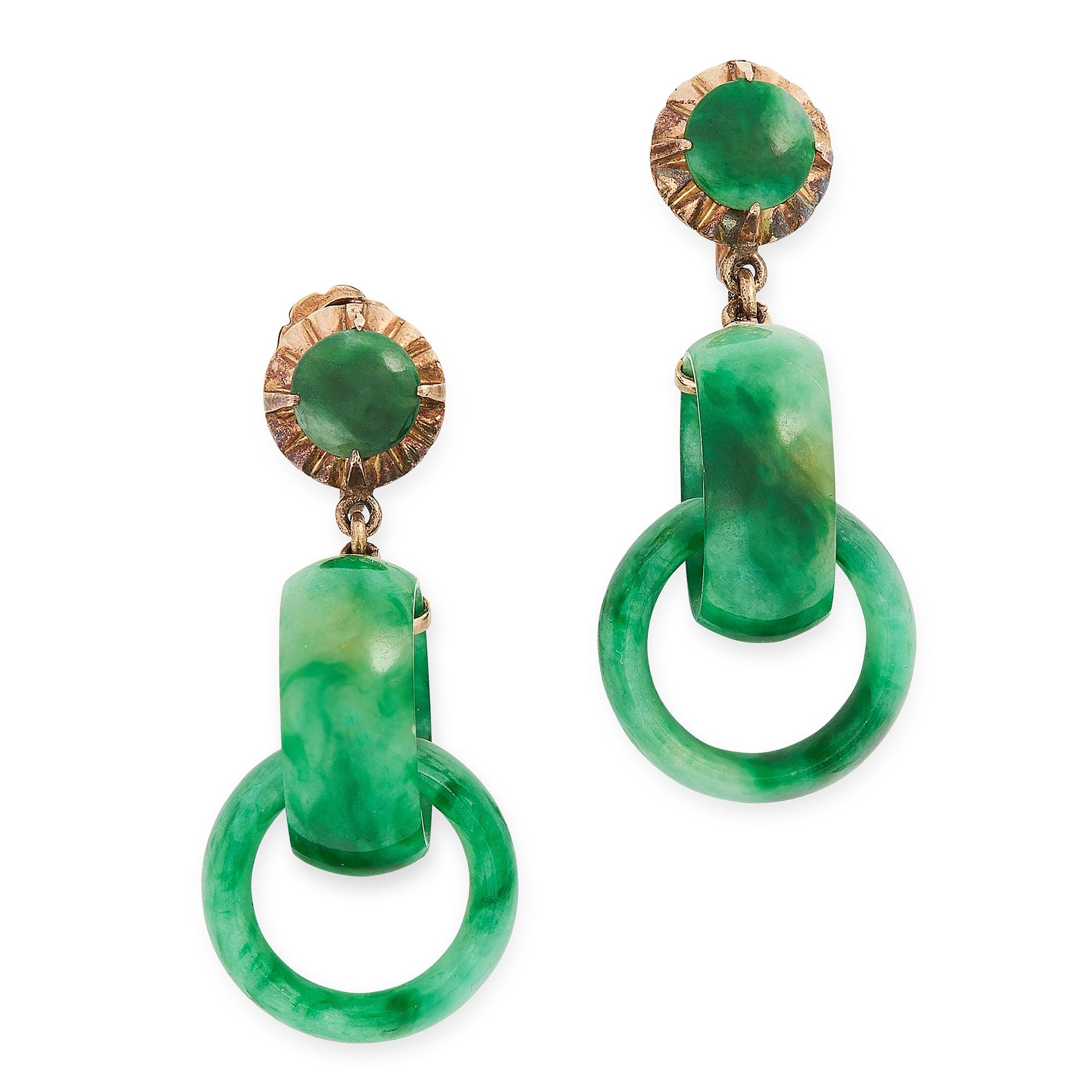 A PAIR OF JADEITE JADE DROP EARRINGS in yellow gold, each formed of two interlocking jade rings,