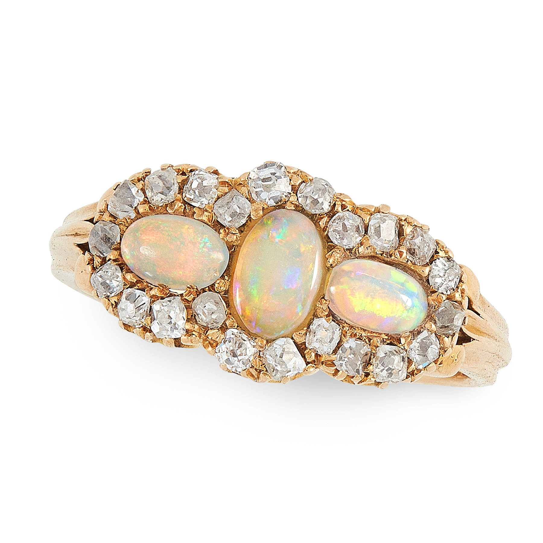 AN ANTIQUE VICTORIAN OPAL AND DIAMOND RING, 1888 in 18ct yellow gold, set with a trio of oval