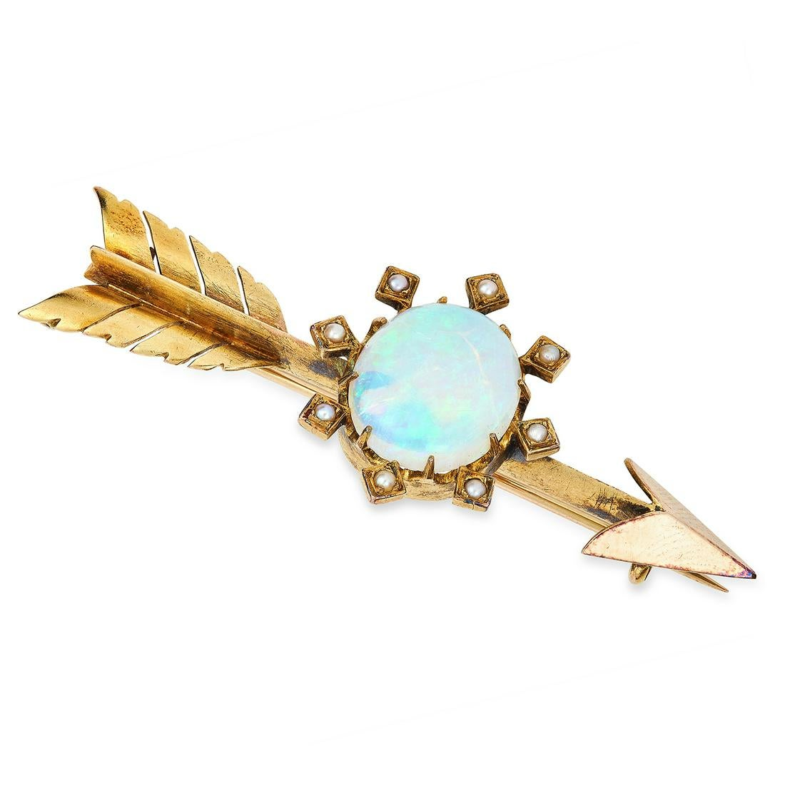 AN ANTIQUE OPAL AND PEARL ARROW BROOCH in yellow gold, set with an oval cabochon opal accented by