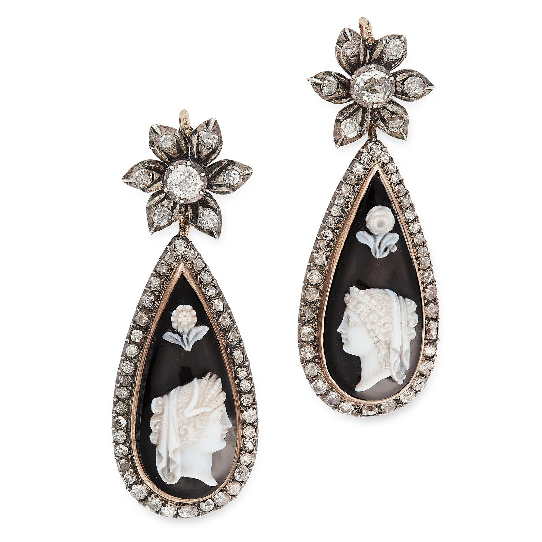 A PAIR OF ANTIQUE CAMEO AND DIAMOND EARRINGS, 19TH CENTURY in yellow gold and silver, each set