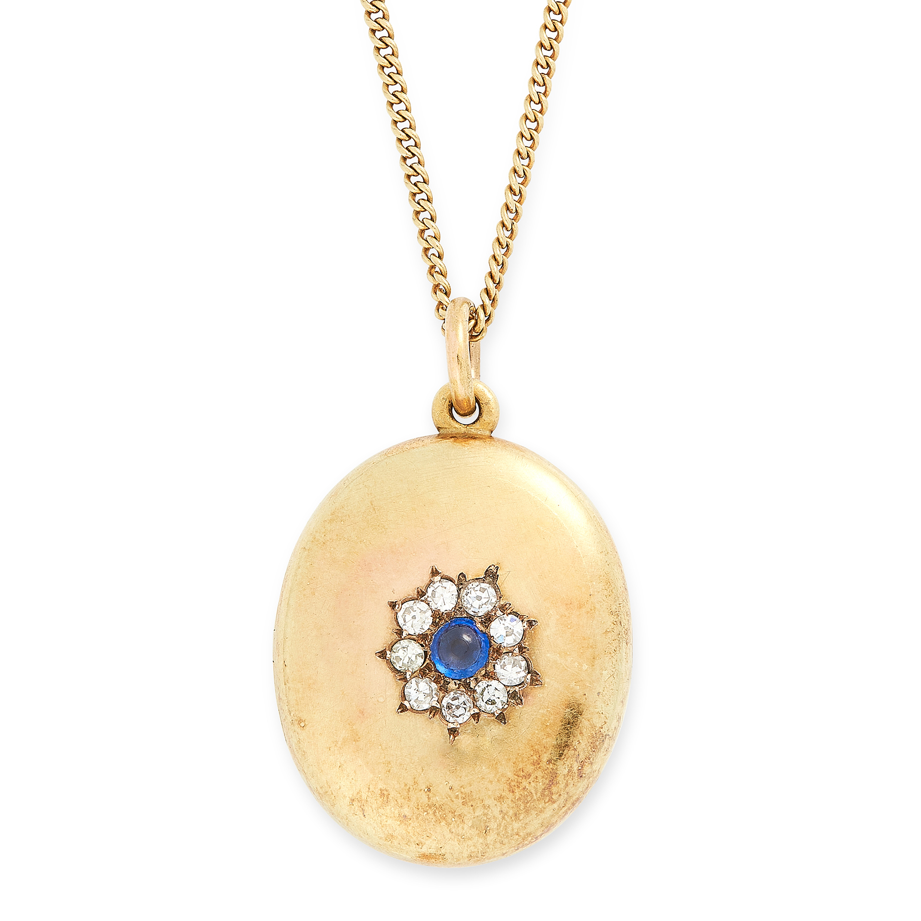 AN ANTIQUE SAPPHIRE AND DIAMOND LOCKET PENDANT AND CHAIN in high carat yellow gold, the oval