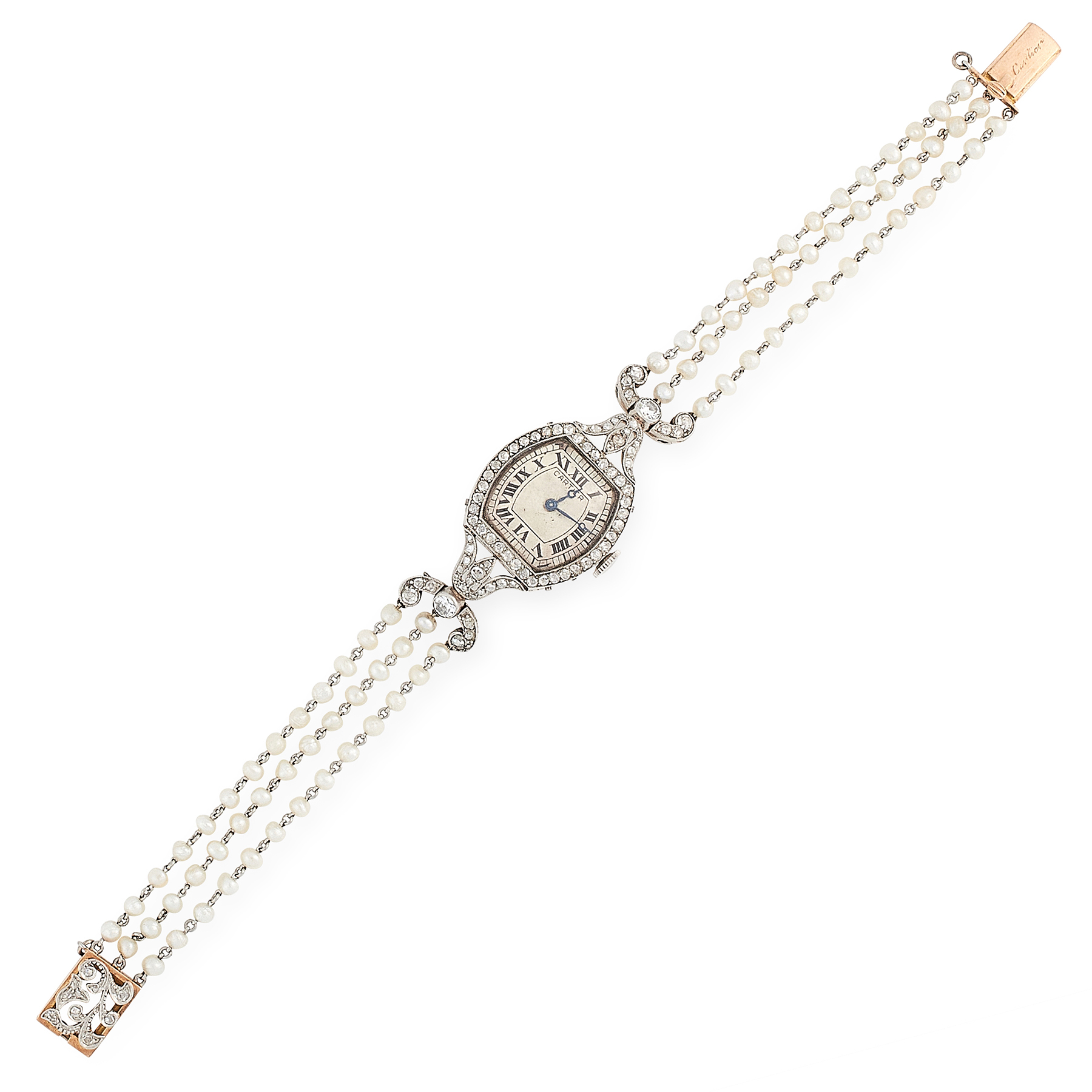 AN ANTIQUE DIAMOND AND PEARL WRIST WATCH, CARTIER EARLY 20TH CENTURY in 18ct yellow gold and