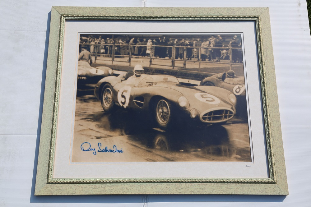 Lot 9 - Framed Photo (b/w) - Roy Salvadori in DBR1 at Aintree in 1957 (27 x 23 Inches)