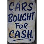 "1940's Double sided Tin Sign ""Cars Bought for Cash"""