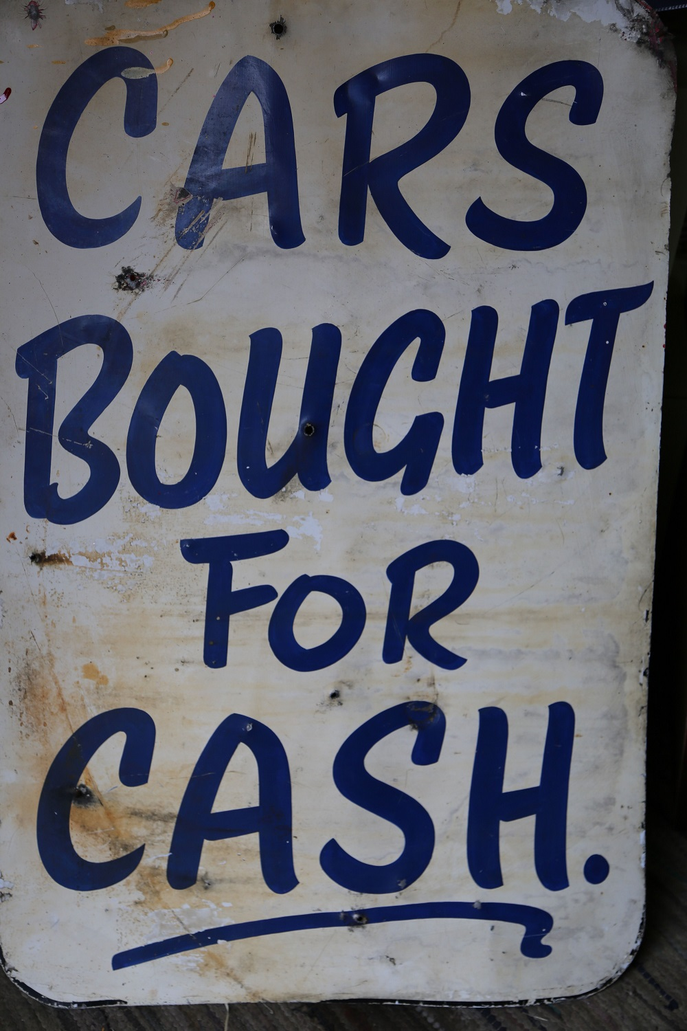 """Lot 50 - 1940's Double sided Tin Sign """"Cars Bought for Cash"""""""