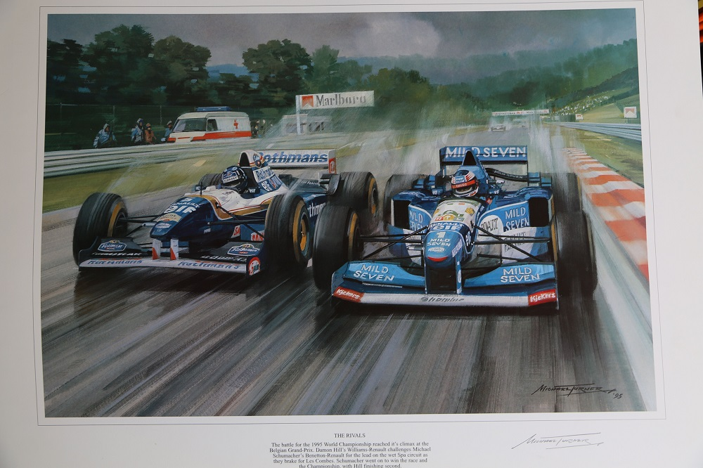 Lot 43 - Michael Turner: Quartet of signed prints: depicting Mansell & Patrese, Mansell & Prost, Berger and