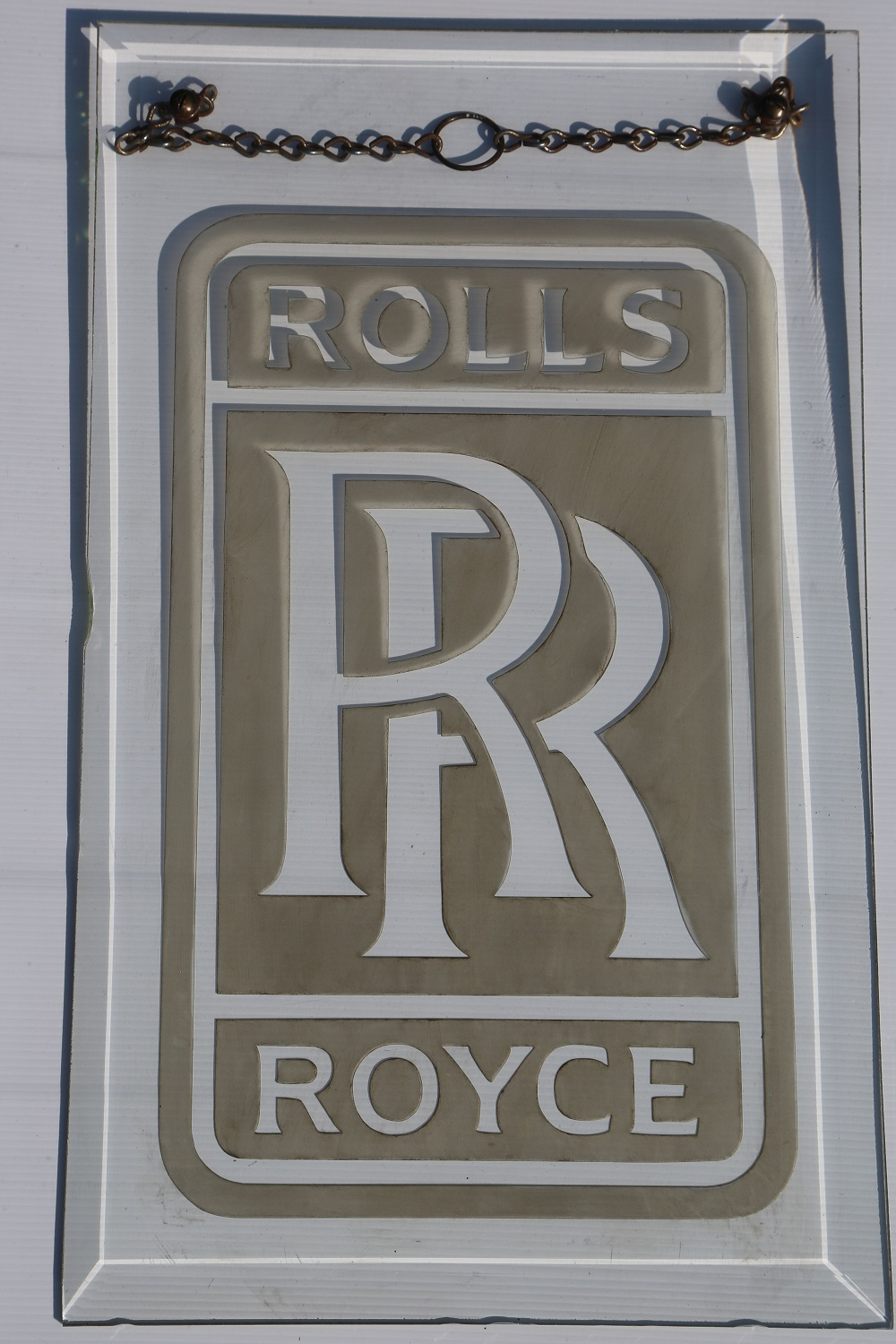 Lot 27 - Rolls Royce: Etched Glass Showroom sign - 20 x 12 inches