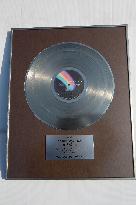 "Lot 18 - The Who: Original Presentation Platinum Disc for Legendary 1960's Rock Opera ""Tommy"""