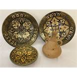 4 items of North African pottery, comprising: 2 hand painted and glazed bowls with metal applique,