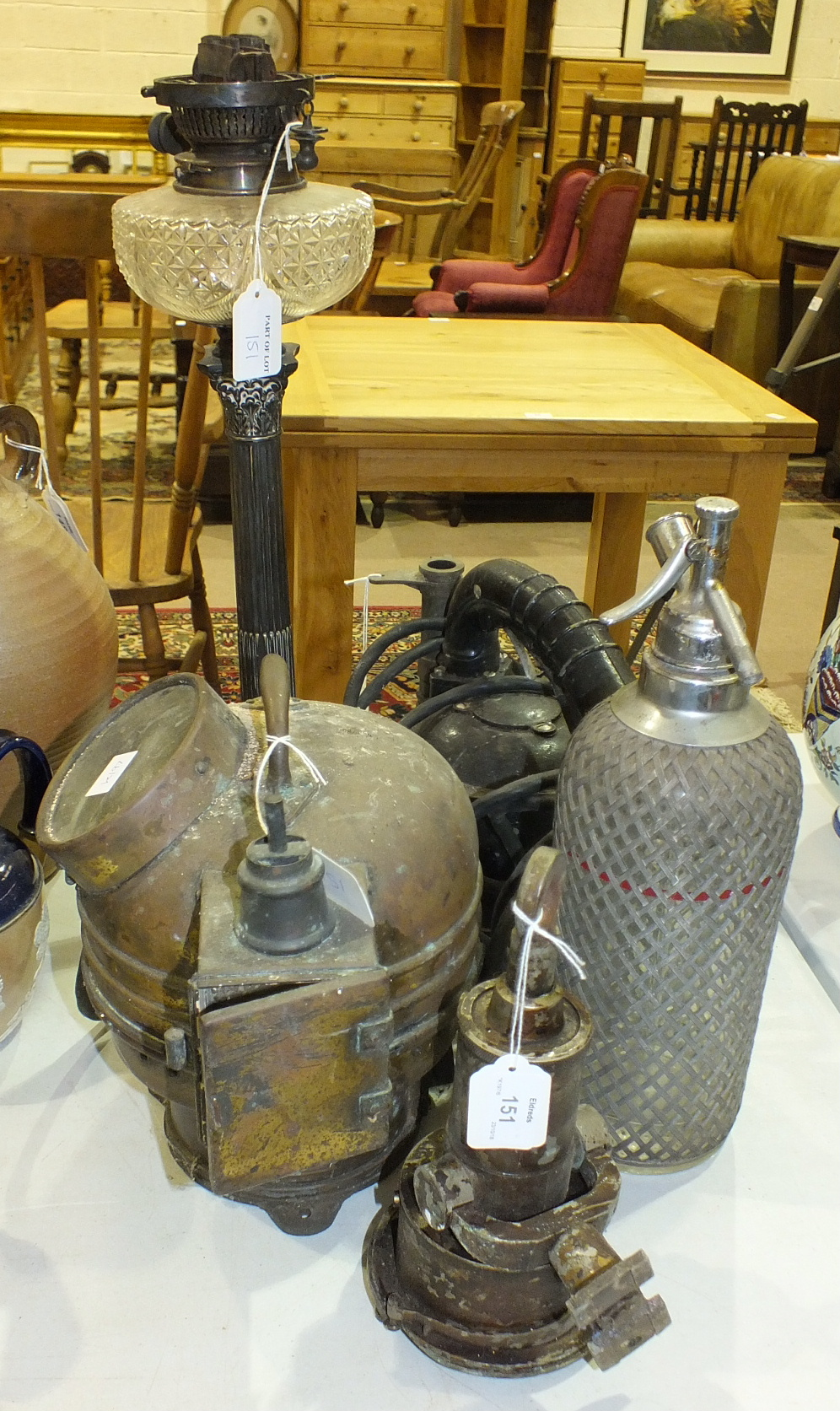 Lot 151 - A Walkers Cherub Mk3 ships log, a brass binnacle top with ships compass, (damaged), and other