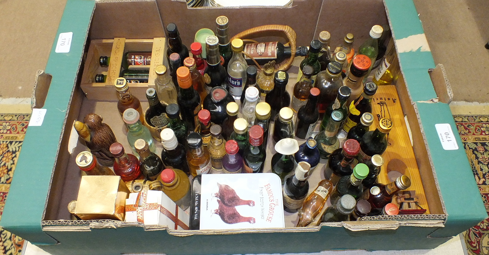 Lot 170 - A collection of miniature bottles of wines and spirits.